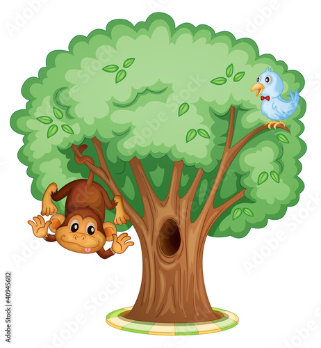 Poster Vogels, bijen Animals in a tree