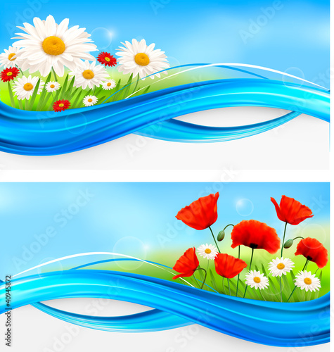 Two banners with spring and summer flowers.