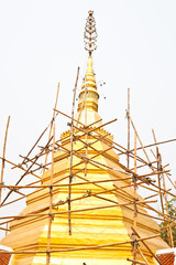 Repairing Gold pagoda in thai temple