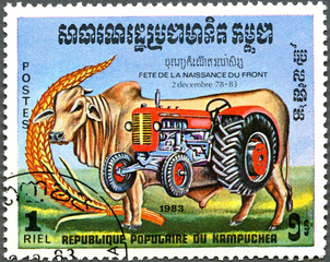 KAMPUCHEA - 1983: shows bull and tractor, series devoted to Fest