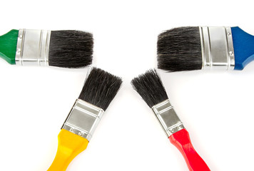 brush tools for drawing colour set isolated on white background