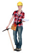 Woman with a pickaxe and plans