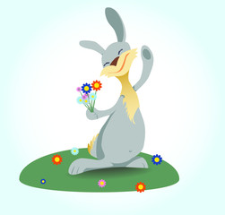 Happy bunny with flowers