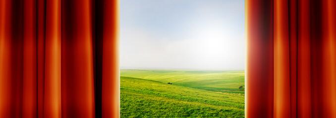 fields behind curtains