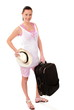 Summer holiday traveler cute woman with baggage