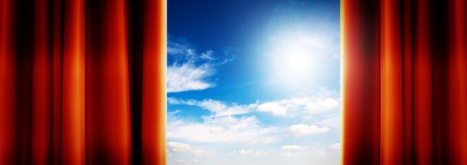 sky behind curtains