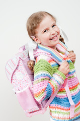 Back to school - portrait of  happy schoolgirl