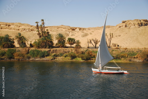 Poster Egypte Falucca on the Nile River, Aswan, Egypt
