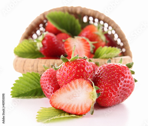 strawberry and wicker basket