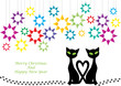 background with christmas motive, two cats and color stars
