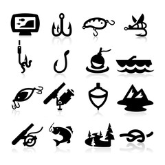 Fishing icons set Elegant series