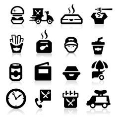 Fast Food icons set Elegant series