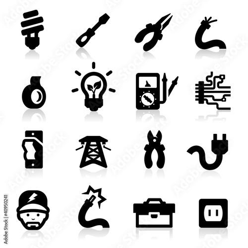 Electrician icons set Elegant series