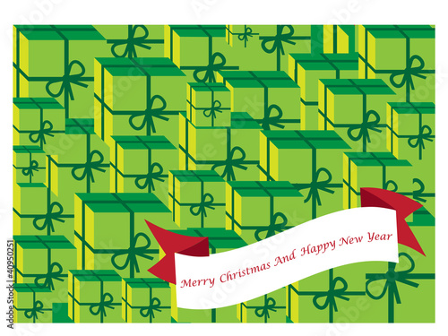 vector christmas background with presents in green