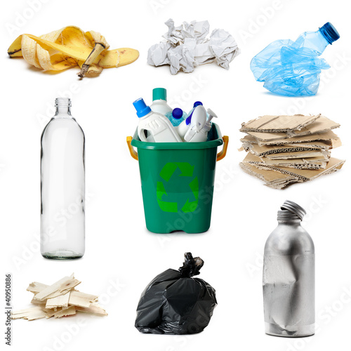 a different kinds of recyclable waste, isolated on white