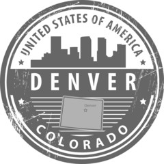 Stamp with name of Colorado, Denver, vector illustration