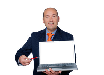 manager with laptop isolated on white background