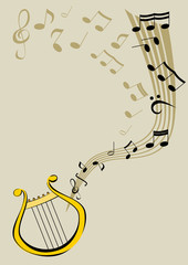 Lyre and notes