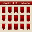 Collection Of 15 Dark Red Retro Banner Beige Background