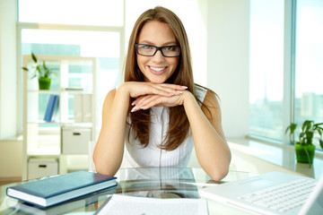 Business lady in eyeglasses