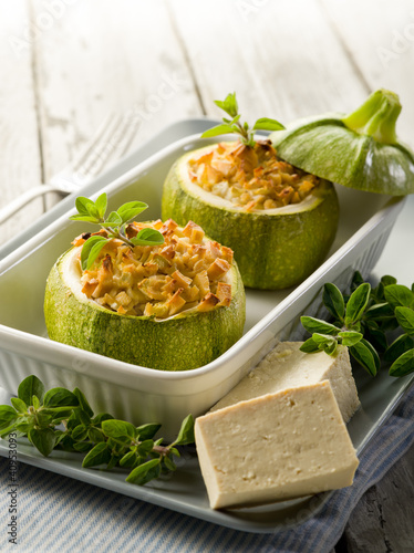 Zucchinis stuffed with tofu cheese, vegetarian food
