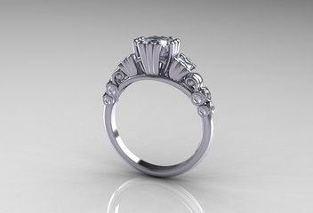 Platinum Princess Diamond Classic Engagement Ring