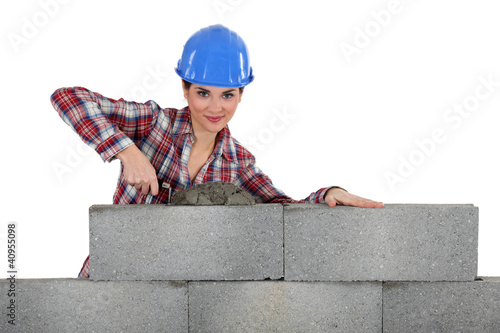 Female bricklayer