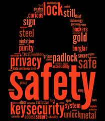 safety lock tag cloud concept for security