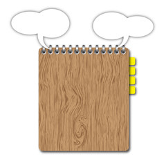 Blank wooden clipboard with space and bookmarks