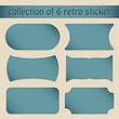 Collection Of 6 Blue Retro Sticker White Background