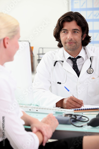 Blond woman in doctors appointment