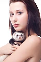 Girl with polecat isolated on white background
