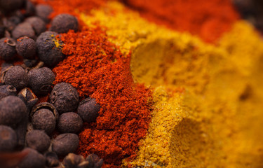 Closeup of spices composition, anise, cinnamon, paprica, curry,