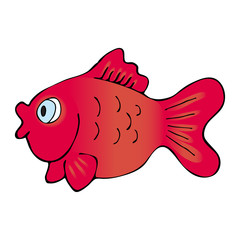 Hand Drawn Red Goldfish