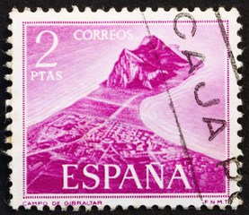Postage stamp Spain 1969 View of Gibraltar across the Bay of Alg