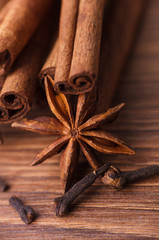 Closeup of cinnamon sticks and anise stars spices