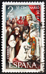 Postage stamp Spain 1973 Pope Gregory XI and Pedro Fernandez Pec