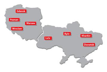 Poland and Ukraine vector map