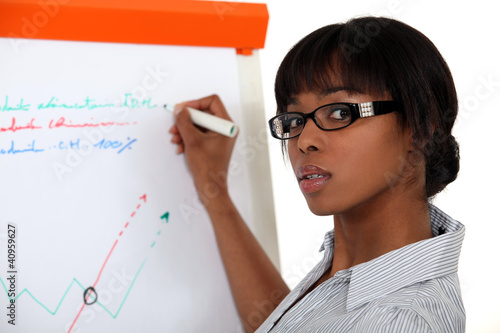 Young woman writing on a paperboard