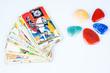 Tarot cards with mystic stones.
