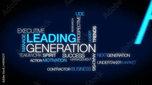 Leading generation words tag cloud animation video