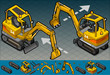 isometric mini excavator in two position