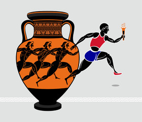 Running with a torch from the ancient greek amphora