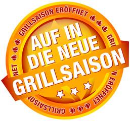 """Button Banner """"Auf in die neue Grillsaison"""" orange"""