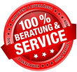 "Button Banner ""100 % Beratung & Service"" rot"