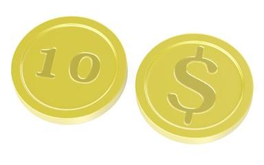 3d render of cartoon coins