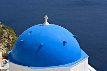Traditional church from Santorini island in Greece