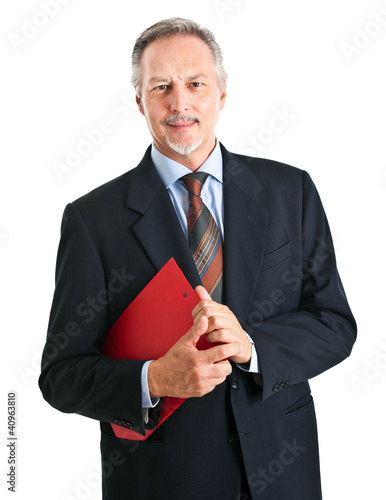 Handsome senior businessman portrait isolated on white