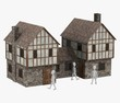 3d render of cartoon character with medieval building