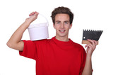 Plasterer with bucket